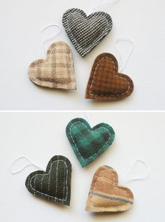 Primitive Heart Christmas Ornaments  Set of 3  Wool by whatnomints, $21.00