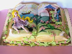 Story Book Cake: Tangled I LOVE Tangled; it is so cute, and fun to sing along with! Haha, I'm kinda a Disney fanatic... :D