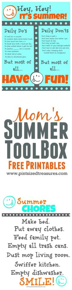 All moms need this toolbox for summer. Enjoy the free printables to keep your kiddos happy and productive! Alison @ Pint-sized Treasures All moms need this toolbox for summer. Enjoy the free printables to keep your kiddos happy and productive! Kids And Parenting, Parenting Hacks, Diy Pour Enfants, Summer Boredom, Summer Schedule, Summer Fun For Kids, Free Summer, Summer Activities, Preschool Activities