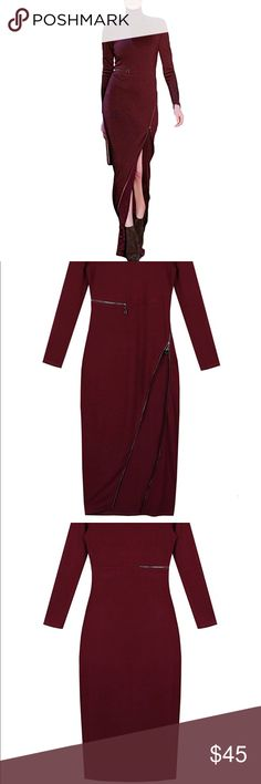 NWT burgundy dress with zippers 😍😍 NWT burgundy dress with zippers 😍😍 I literally just bought it then found out the company doesn't do returns and it's too big so my loss your gain...so sad. It is such a pretty dress. I am a women's 2/4 in dresses and this dress is a small... I think this would also fit a smaller size medium person... or someone that has a little more curves. Haha I have no boobs or buns anymore. You can zip it or unzip it it's beautiful!! Dresses Maxi