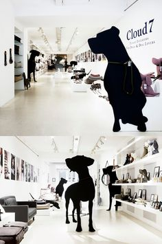 Cloud 7's pop-up features giant dog silhouettes to promote their designer goods