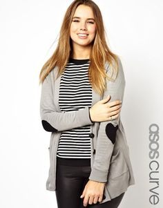 ASOS CURVE Exclusive Cardigan With Heart Elbow Patches in size 20