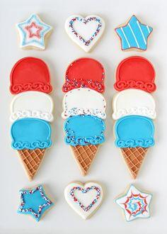4th of July Ice Cream Cone Cookies - via GloriousTreats.com