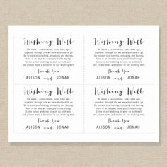 Printable Wedding Wishing Well Card Template Editable Wedding Wishes, Diy Wedding, Wedding Gifts, Wedding Ideas, Wishing Well Poems, Alcohol Wedding Favors, Invites, Wedding Invitations, Wedding Gift Registry