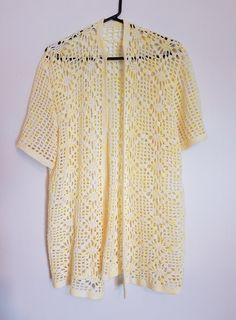 Vintage 1980s pastel yellow long cardigan vest by VintageTwists