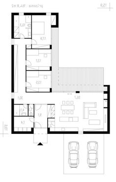 L Shaped House Plans, Pool House Plans, House Layout Plans, Modern Bungalow House, Modern House Plans, Small House Plans, Modern Floor Plans, Layouts Casa, House Layouts