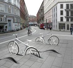 walkway contoured bike rack
