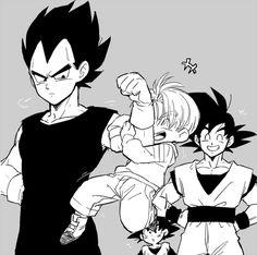 Vegeta, Goku, Trunks, and Goten - Visit now for 3D Dragon Ball Z compression shirts now on sale! #dragonball #dbz #dragonballsuper