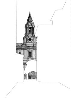Architectural Drawings Behind Empty Building Silhouettes Architectural Drawings Behind Empty Buildin Architecture Sketchbook, Architecture Artists, Cathedral Architecture, Conceptual Architecture, Building Silhouette, Buildings Artwork, Building Art, Building Drawing, Tower Building