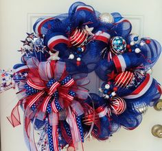 red white and blue wreaths | Patriotic Deco Mesh Wreath Red White Blue by ViennaSparkleWreaths