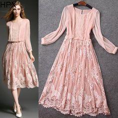 2016 verão nova de rosa de seda flor Lace Hem elegante vestido longo Vestidos de…