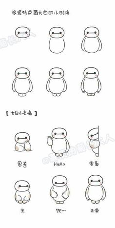 """Draw Baymax according to features""  ""Baymax's Expressions"" ~Thinking ~Hello ~Shy ~Sit ~Full ~Normal"