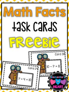 There are 40 task cards included. ( 2 task cards per page)There are 4 sets that are accompanied with cover cards-  +1 facts-  Subtraction from 10-  Missing Number Addition (to 10)-  Missing Number Subtraction (from 10)Great for:- Math Centers- RTI/ Basic Skills- Small Group- Just for FUN!