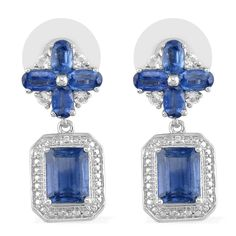 Liquidation Channel: Himalayan Kyanite and White Topaz Earrings in Platinum Overlay Sterling Silver (Nickel Free)