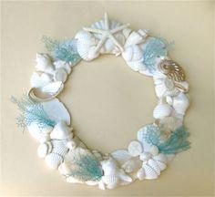 Beach Decor - Seashell Wreath with Hand-Painted Natural Sea Fans - 12-15 inch diam.: