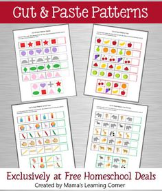 4-page set of cut & paste patterns for PreK/Early K!
