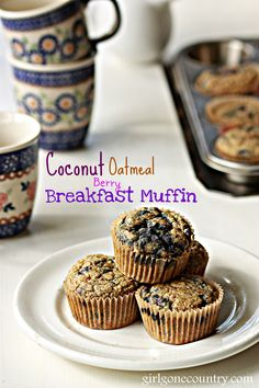 Delicious Coconut Oatmeal berry Breakfast Muffins. Gluten free, dairy free and no added oil. Make a batch of these and eat them for a quick snack or breakfast.