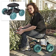 Ironton Rolling Garden Seat with Turnbar Gardens Shops and Tools