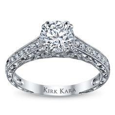 Kirk Kara 18K White Gold Diamond Engagement Ring Setting -- The work in this is breathtaking