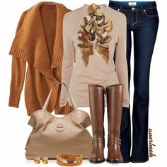 Fall Outfit With Cardigan,Long Boots and Handbag