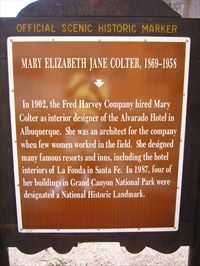 Mary Elizabeth Jane Colter, 1869-1958 - New Mexico Historical Markers ...