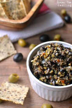 Olive Tapenade made with black and green olives is packed with flavor and perfect for dipping! This easy recipe comes together in minutes and is the BEST olive tapenade ever! Tapas, Antipasto, Catering, My Burger, Burgers, Food Porn, Cooking Recipes, Healthy Recipes, Sauces