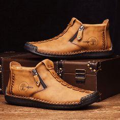 Mens Boots Online, Shoes Online, Stitching Leather, Hand Stitching, Cow Leather, Leather Shoes, Casual Boots, Men Casual, Men's Shoes