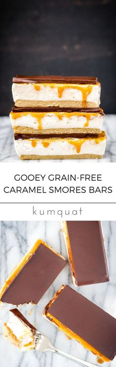 Gooey Grain-Free Caramel Smores Bars | kumquatblog.com @kumquatblog gluten-free recipe