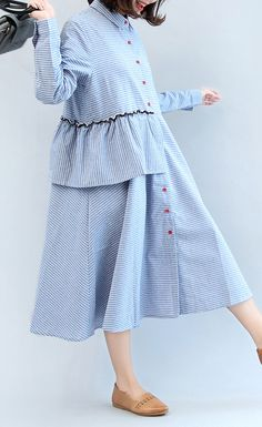 new ruffles blue white striped cotton dresses plus size casual long sleeve maxi . new ruffles blue white striped cotton dresses plus size casual long sleeve maxi Modest Fashion, Fashion Dresses, Casual Dress Outfits, Casual Wear, Prom Dresses With Sleeves, Long Sleeve Maxi, Plus Size Casual, Dress Shirts For Women, Cotton Dresses