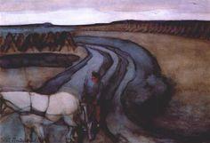 At Work / On the Land -   Artista: Piet Mondrian (1872-1944) Data da Conclusão: 1898 Estilo: Post-Impressionism Género: landscape Técnica: gouache Dimensões: 54,4 x 78,7 cm Galeria: Gemeentemuseum, the Hague, Netherlands