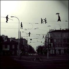 Tightrope-walking.