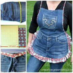 DIY RECYCLED APRON...using old jeans! This is such a cute idea...love it!  http://www.creativegreenliving.com/2013/04/farm-girl-apron-tutorial-from-recycled.html