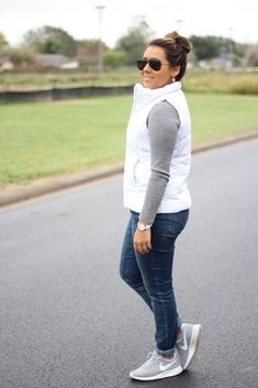 White puffer vest outfit Shop Collective Looks from runwayteacher - ShopStyle White Vest Outfit, Puffer Vest Outfit, White Puffer Vest, White Vests, Cute Spring Outfits, Casual Fall Outfits, Western Outfits, Vest Outfits For Women, Clothes For Women