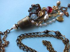 Thimble cluster necklace