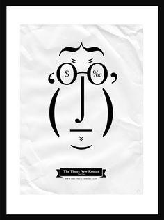 The Type Faces Project con tipografía The Times New Roman, Tiago Pinto, 2012