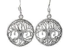 Sterling Silver Tree Of Life Drop Earrings Tree Of Life Jewelry, Butterfly Jewelry, Body Jewellery, Sterling Silver Jewelry, Women Jewelry, Drop Earrings, Steel, Drop Earring, Steel Grades
