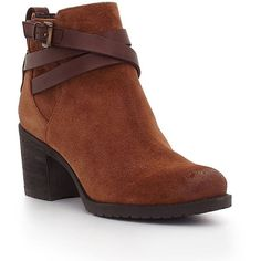 Sam Edelman Hannah Suede Booties ($130) ❤ liked on Polyvore featuring shoes, boots, ankle booties, mocha, sam edelman, stacked heel booties, suede ankle booties, suede buckle boots and suede leather boots
