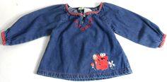 Sesame Street shirt Elmo Denim Flowers Floral Baby Girls Long Sleeve 12 mo's.  #SesameStreet #Everyday