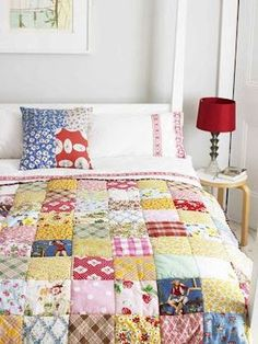 Making a Patchwork quilt from things you love - your children's clothes, husband's shirts - reuse the old to make something wonderfully special!