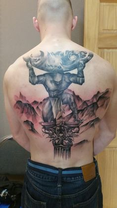 Atlas Holding the Heavens done by Ericksen Linn at Star Tattoo, Albuquerque by trivod119