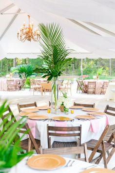 Tall Palm Leaf Centerpieces | Blue, Gold + Blush Wedding at Old Wide Awake Plantation by Charleston wedding photographer Dana Cubbage Weddings