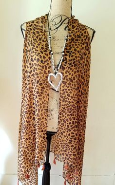 New Duster Long Cheetah Southwestern Boho Sizes Small-Lg Long Vest Style #SP #Duster