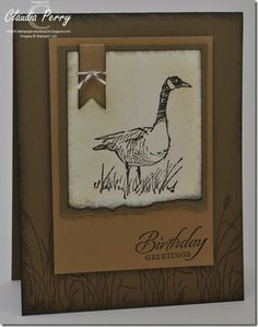 "By Claudia Perry. Uses Stampin' Up ""Wetlands"" stamp set."