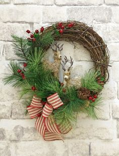 Reindeer Wreath, Christmas Wreath for Front Door, Front Door Wreath, Christmas…