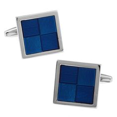Square Blue Paint Noble Men's Cufflinks Gift Bag Package