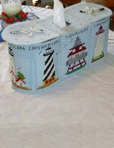 Lighthouse Tissue Caddy 1/7 Plastic Canvas Tissue Boxes, Plastic Canvas Crafts, Plastic Canvas Patterns, Organizing Hair Accessories, Canvas Designs, Canvas Ideas, Kleenex Box, String Crafts, Plastic Canvas Christmas