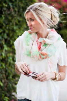 Over-sized tee, floral scarf, messy bun