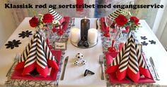 sort og rødt borddækning inspiration