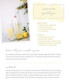 This lemon thyme spritzer is a delicious and effortless summer drink.
