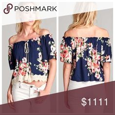 COMING THIS WEEKEND Off The Shoulder Floral Top ✳️ LIKE THIS LISTING TO BE NOTIFIED WHEN ITEM ARRVES ✳️  Gorgeous floral off the shoulder top in blue. Short sleeves, drawstring neckline with tassel detail and crochet front hemline. 1 North 1 South Tops